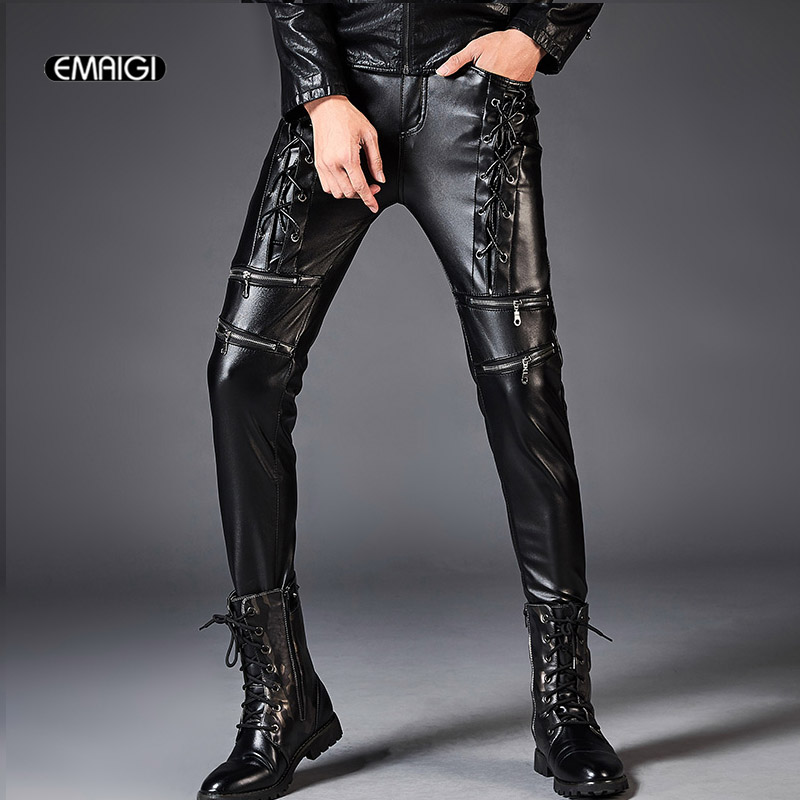 Fashion Mens Black Slim Fit Skinny Rock Trousers Punk pu Leather Pants