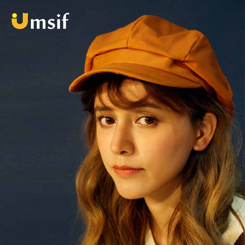 2019 новый летний Для женщин Сплошной Цвет хлопок кепка газетчика для Для женщин 90 s мечта Ретро Простой французский Стиль береты женский малярные шляпы