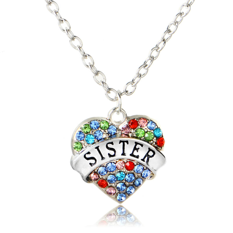 Fashion Colorful Crystal Heart Sister Sis Pendant Necklace Jewelry Charm Accessory Choker Shiny Family Party Girl Gift Collar