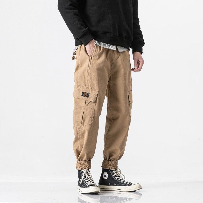 Carga Original elasticidad caqui Diseñador Pantalones Recta Negro De Dividir Micro Militar Decoración Estilo Overoles Pierna Japonés verde Retro Hombres Bolsillos wqxZtIY