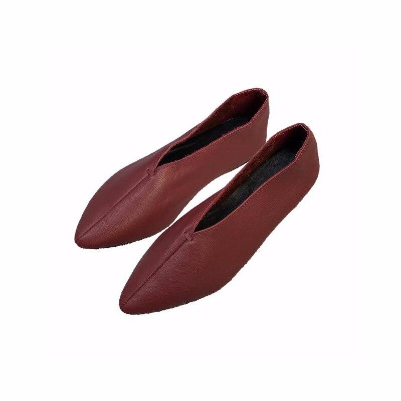 60212dbc9deb8 SexeMara New Handmade 100% Genuine Leather Women Shoes Simple style soft  Cowhide Shoes Ladies Flat