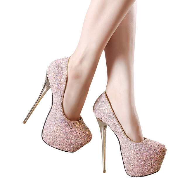 7d13f1190f US $25.78 14% OFF|Gdgydh Fashion Women Heels Platform Shoes 2018 New Spring  Autumn Bling Women Pumps Thin Heels Sexy Slim Party Shoes High Heels-in ...