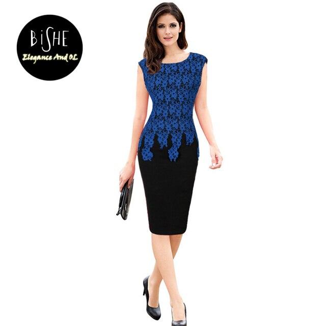 25c9a8da0 BiSHE Elegantes Vestidos de Encaje de Impresión Floral Mujeres Oficina de  Trabajo Del Vestido Azul de