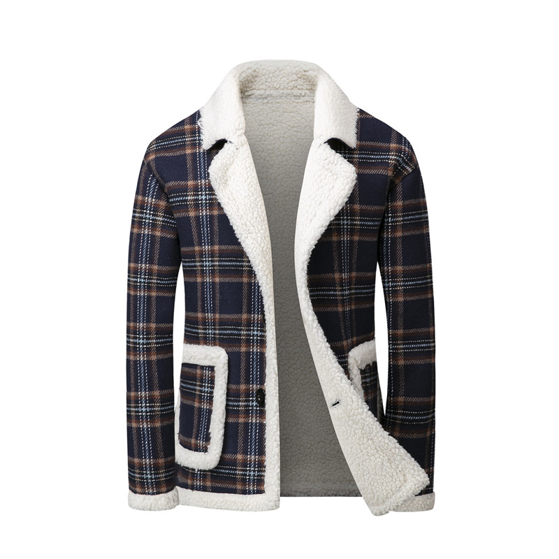 Men's Winter Parkas Plaid Design Warm Fleece Coats Famous EU Designer Thicken Down Cotton Jacket Single Breasted Jackets Coats