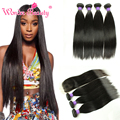 Malaysian Straight Virgin Hair With Closure 3 Bundles Malaysian Straight With Silk Base Closure Rosa 8A Human Hair With Closure