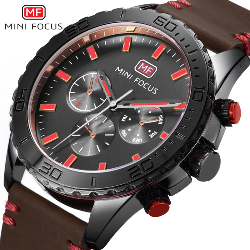 MINI FOCUS Luxury Brand Military Watches Men Quartz Leather Clock Horloges Mannen Analog Sports Army Watch With Original Box orkina montres 2016 new clock men quarz watch uhr uhr cool horloges mannen gift box wrist watches for men