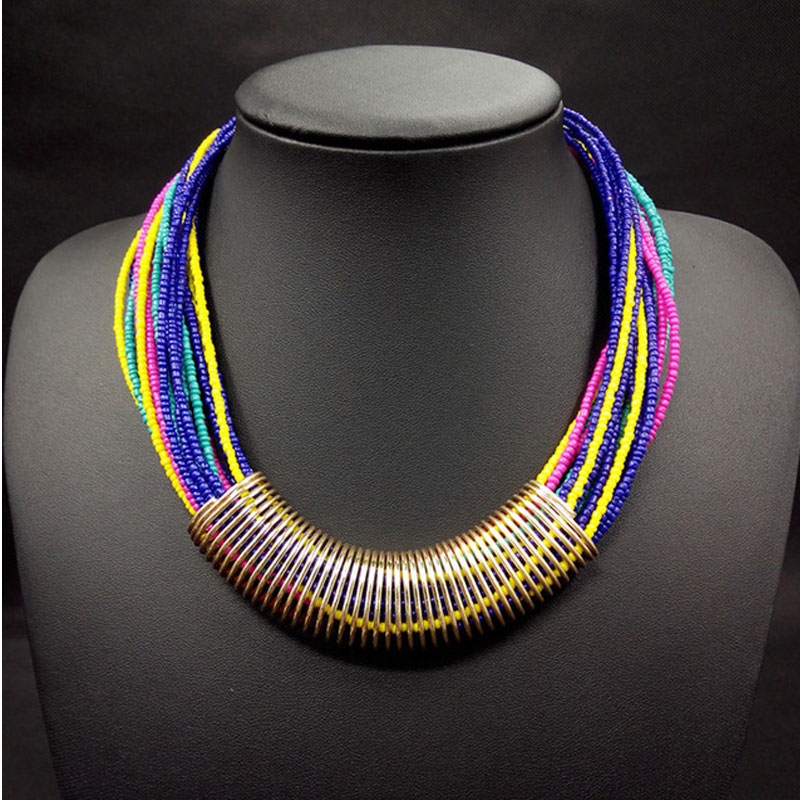 2018 Bijoux Fashion Ethnic Necklace For Women tube Multicolor Bead Multilayer Statement Necklaces Collar Choker Bohemian Jewelry