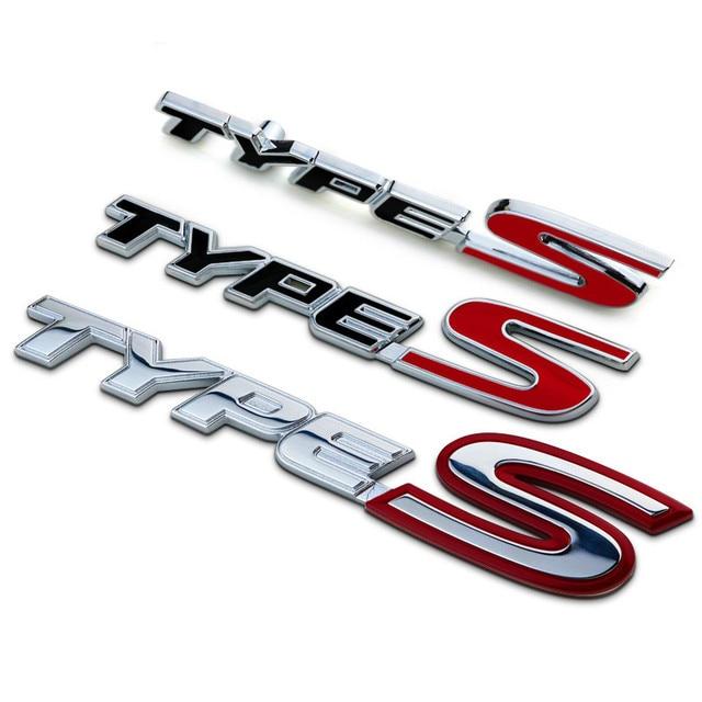 New chrome metal zinc types type s car styling refitting trunk logo emblem mark sticker grille
