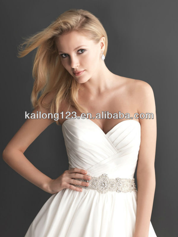 Phenomenal Sweetheart Ruched Bodice Beaded Crystal Waist Ball Gown Chapel  Train Taffeta Alibaba Wedding Dress-in Wedding Dresses from Weddings    Events on ... 3c01b97b9a8e