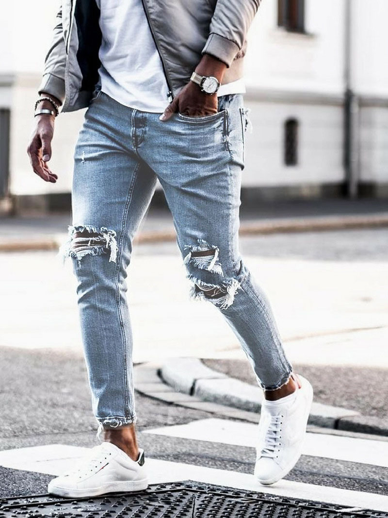 EVES Korean Style Jean Men's Pants Blue Knee Hole Cool Trousers Hombre For Guys 2019 Summer Zipper Fly Ripped Jeans Male