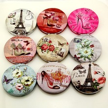 Cute Makeup Mini Pocket Eiffel tower Style Clear Glass Women Cosmetic Beauty Mirror Fashion Round Form pocket
