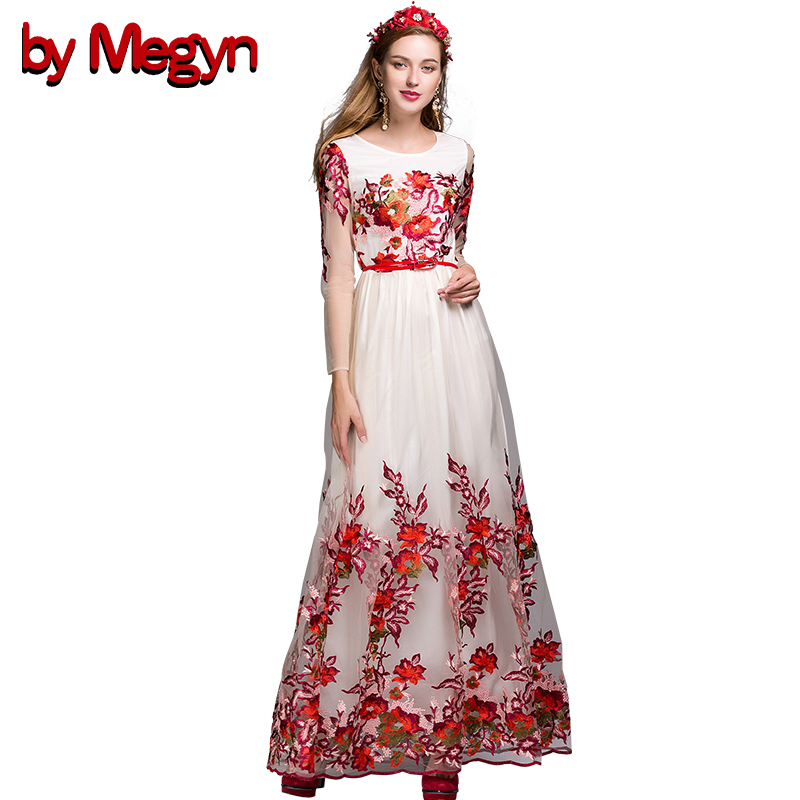 Buy Cheap Summer Dress 2016 Runway Floral Lace Maxi Long Embroidery Dress Women Casual Loose Vintage Vestidos With PU Belt LD440