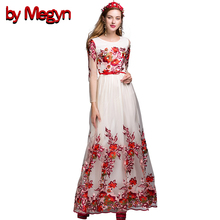 Summer Dress 2016 Runway Floral Lace Maxi Long Embroidery Dress Women Casual Loose Vintage Vestidos With PU Belt LD440