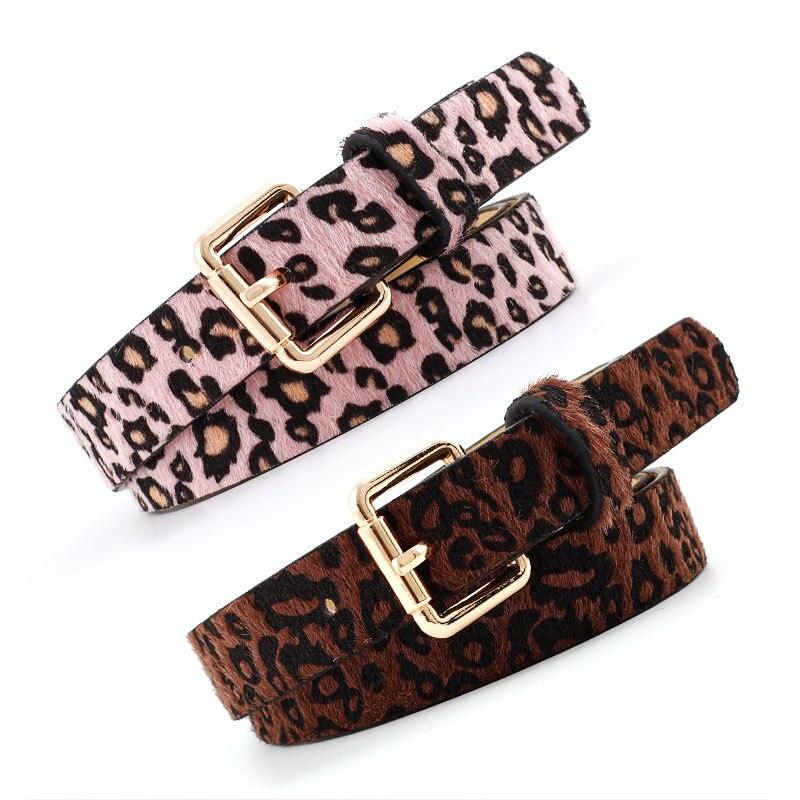 Sexy Female Belt Cummerbund Women Horsehair Belt With Leopard Pattern Rose Gold Metal Buckle Hot Women Pu Belt 2019 Fashion