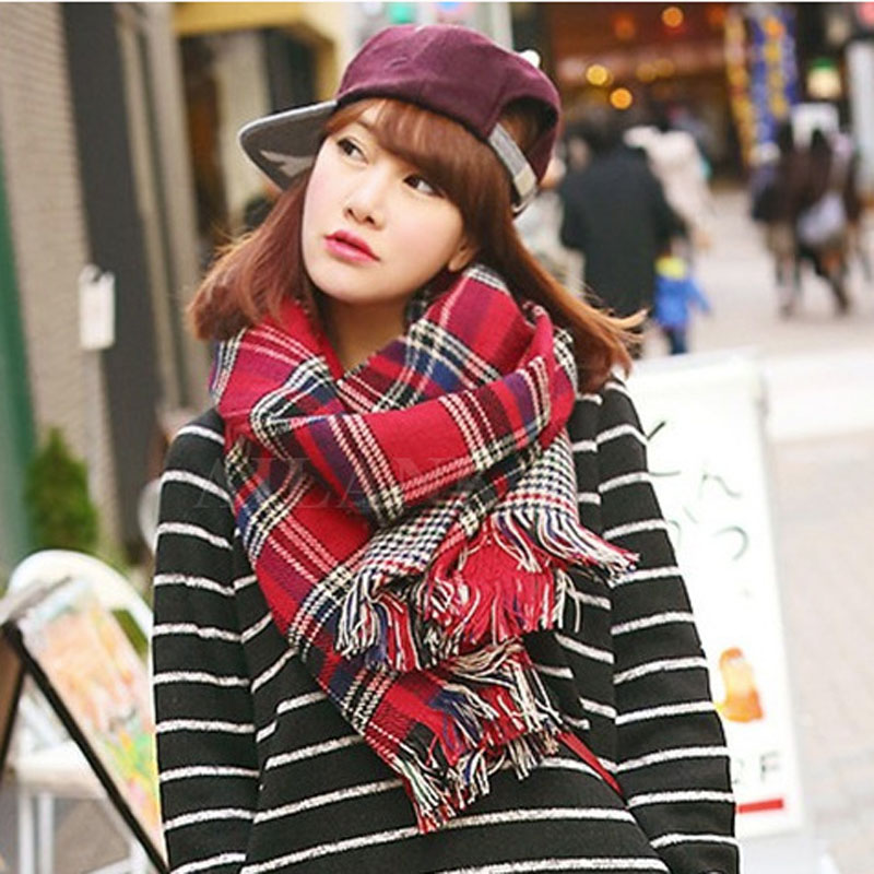 Winter Brand Plaid Cashmere Scarf Women Oversized Double Knit Wool Warm Pashmina Shawls Check Blanket Ponchos And Capes W3110