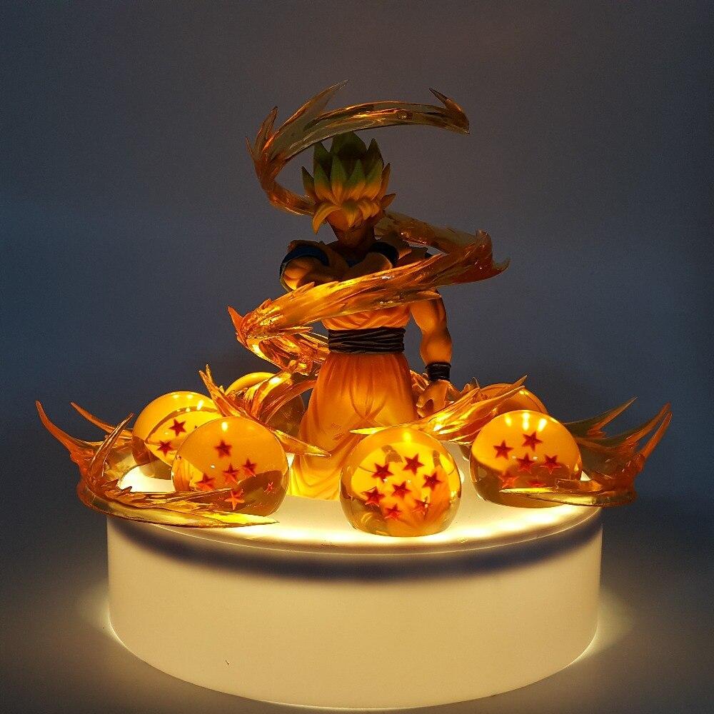 Dragon Ball Son Goku Boules de Cristal Led Night Lights Lampe Ampoule Dragon Ball Z Goku Effet Led Lamparas Veilleuse