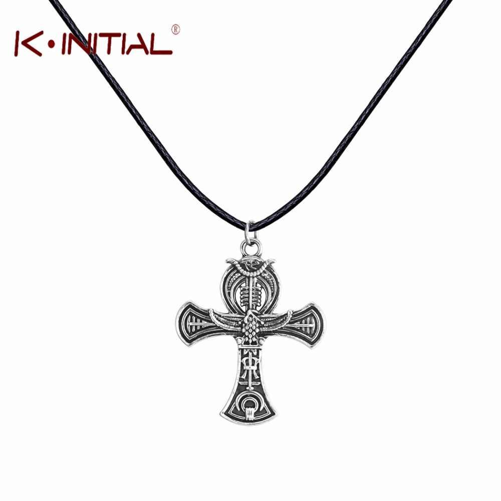 Kinitial 1 sztuk Ankh egipski krzyż naszyjniki wisiorki w stylu egipskim mężczyzn Choker antyczny urok Party naszyjnik biżuteria prezent