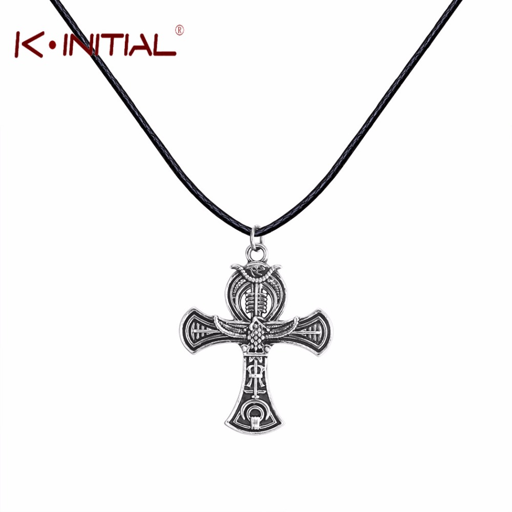 Kinitial 1Pcs Ankh Egyptian Cross Necklaces Pendants Egypt Style Men Choker Antique Silver Charm Party Necklace Jewelry Gift