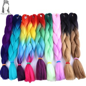Image 1 - Desire for hair 4packs per lot 24inch 100g 2 tone three tone ombre color synthetic braiding box braids hair black grey burgundy