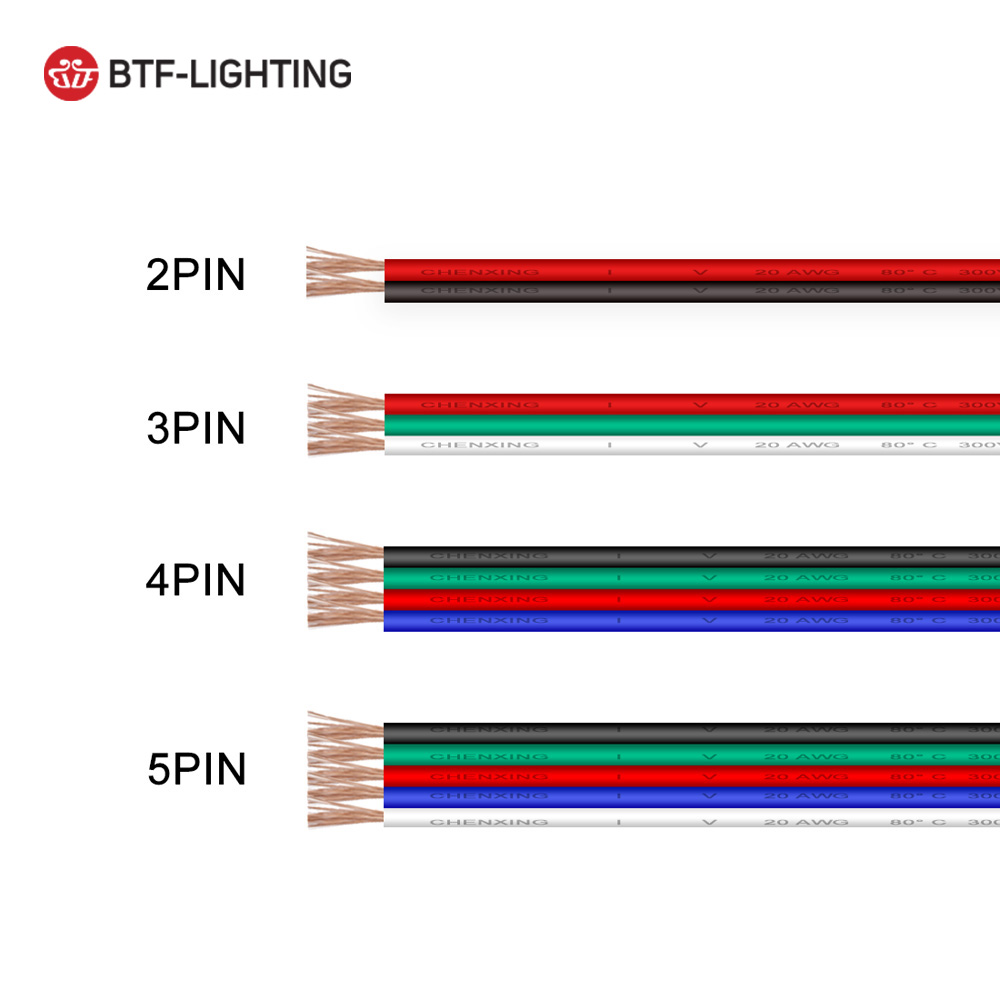 10m/20m 2pin/3pin/4pin/5pin 22awg/20awg/18awg Led Wire Cable For Ws2812 Ws2811 Lights & Lighting 5050 Led Strip Light Packing Of Nominated Brand