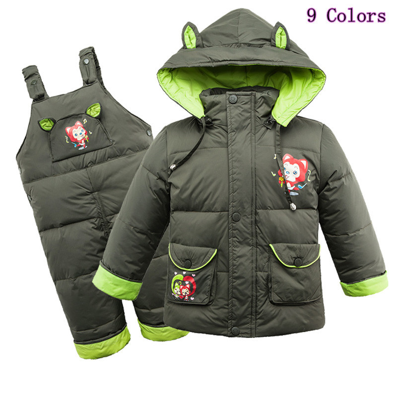 ФОТО High Quality 2017 Winter Children's Duck Down Jacket Suits Boys and Girls Clothes Suit Hoodies Down Coat + Pants Free Shipping