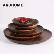 Live-R high quality plates Black walnut wooden tableware Beech wood plate handmade log dish For daily uses or gifts