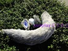 Universal Light Gray Plush Tail Animation Cosplay Stage Show Props Fox Demon Beast Wolf Tail Ears(China)