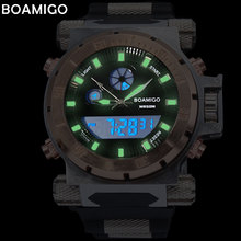 2017 luxury BOAMIGO brand Men military sports watches Dual Time Quartz Digital Watch rubber band wristwatches relogio masculino