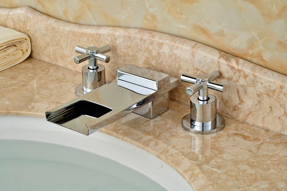 ФОТО Luxury Chrome Brass Waterfall Spout Widespread Vessel Sink Mixer Tap Dual Handle