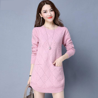 Women Plus velvet Winter Sweater Women 2018 Medium Long O Neck Thicken Knitted Sweaters And Pullovers Female Jumper Tricot Tops