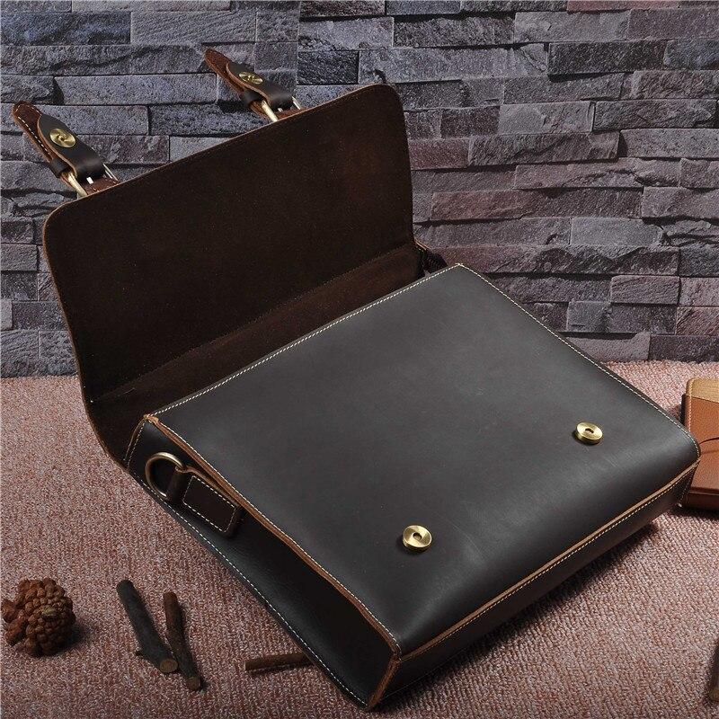 Винтажные мужские портфели из натуральной кожи, сумка через плечо из коровьей кожи, деловая сумка, чемодан, мужская сумка для ноутбука, портфель для женщин - 4