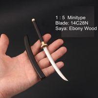 Handmade minitype 1:5 Katana Japanese Samurai Sword 14C28N with Ebony wooden Saya