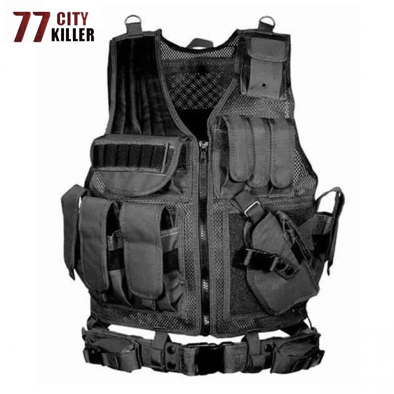 77City Killer Tactical Combat Vest Men Unloading Army Military ACU/Camouflage Men Vests Multi-pocket Body Cs Jungle Equipment