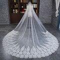 Romántico Vestido De Noiva Accesorios de Boda Blanco/de Marfil de La Boda Del Borde Del Cordón Velo Largo Velos de novia Con Apliques