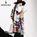 [Soonyour] 2017 nueva primavera otoño empalme graffitis vaquero mujer de manga larga chaqueta de abrigo largo mujer ropa de moda w0145