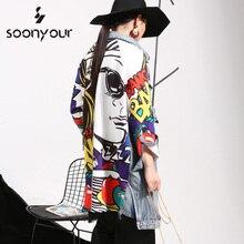 [soonyour] 2017 new Spring autumn Graffiti Splicing Cowboy Women  Long-Sleeved Cardigan Long Coat Female Fashion Clothes W0145