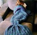 Ручной работы вязаные детские русалка хвост одеяло постельные принадлежности детей пеленать детей детское одеяло русалка одеяло мягкие шерстяные Обертывание Кровать