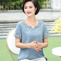 Summer Middle Aged Women Shirts Tops Casual Short Sleeve V Neck Fashion Blouse Cotton Linen Embroidery Blouses Ladies Blusas