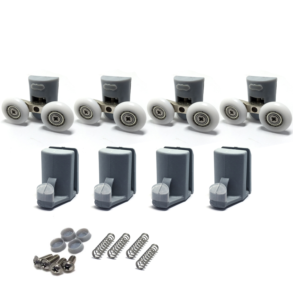 Set of 4 Shower Door Rollers/ 4 Runners/Hooks/Guides 23mm Wheels Diameter 902A, Model: 106, Shower accessory (8pcs )