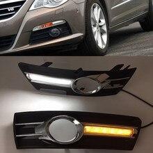 سيارة وامض 1 مجموعة سيارة ضوء ل VW PASSAT CC 2009 2010 2011 2012 2013 LED DRL النهار تشغيل أضواء مع الضباب مصباح غطاء