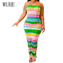 WUHE Strapless Vintage Rainbow Striped Bodycon Bandage Pencil Dress Women Summer Elegant Hollow Out Pleated Maxi Dress Vestidos rainbow color maxi pleated dress page 1