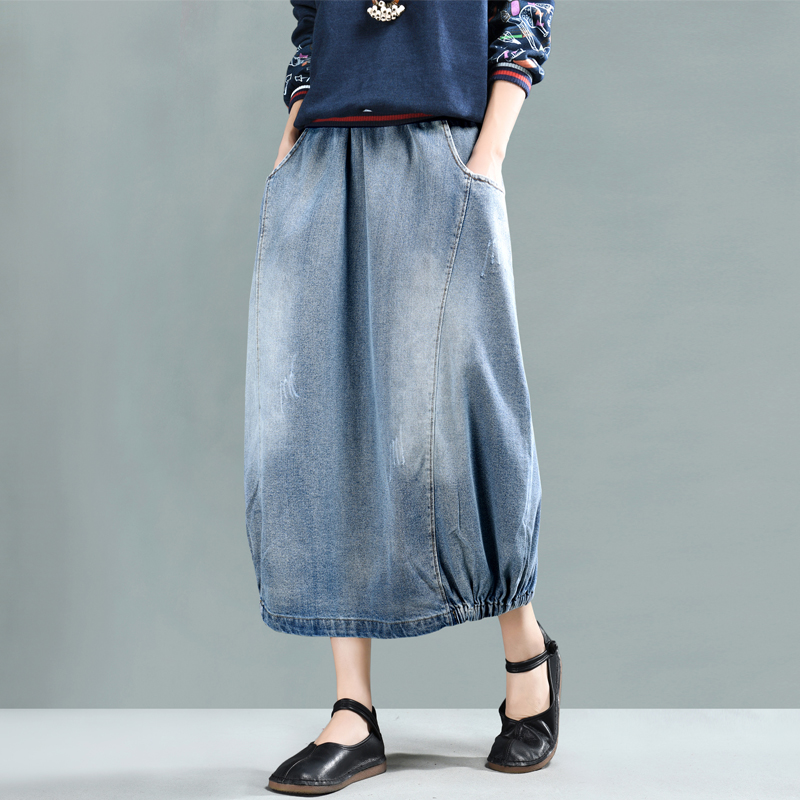 Washed Cat claw hole casual denim skirt 2019 spring