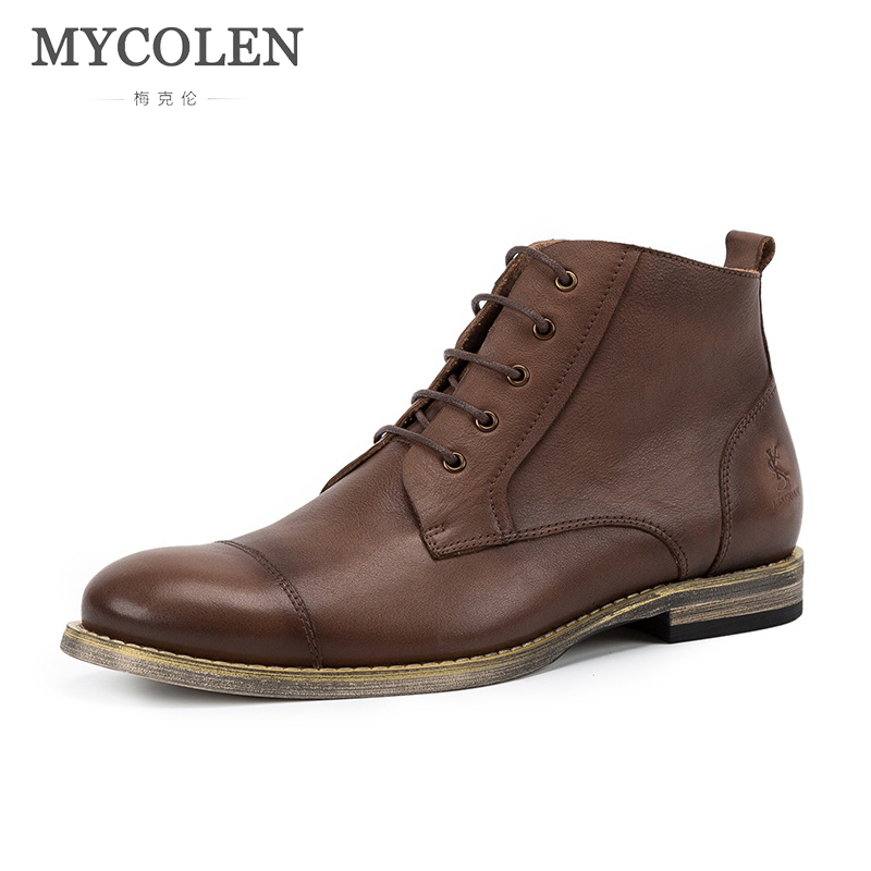 MYCOLEN Brand Hot Newest Keep Warm Winter Boots Men High Quality Leather Wear Resisting Casual Shoes Working Fashion Men Boots