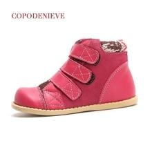 Copodenove bottes dhiver en cuir véritable pour enfants, chaussures de neige épaisses, chaudes, en coton, mi mollet