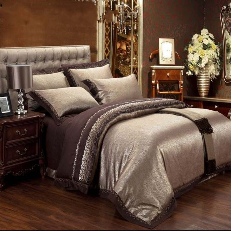 Jacquard Silk Bedding Set Queen King 6/4pcs Brown Embroidered Home Textile  Satin Duvet/