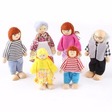 6 PCS/Set  Action Figure Wooden Toy House Pretend Doll Family Children Kids Playing Dolls for Girls Ragdoll Kids Toys