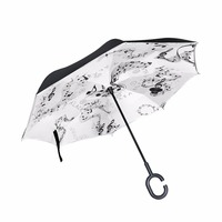 Music Note& Music Notation Reverse Umbrella Double Layer Long Handle Inverted Umbrella High Quality Creative Fashion Customized