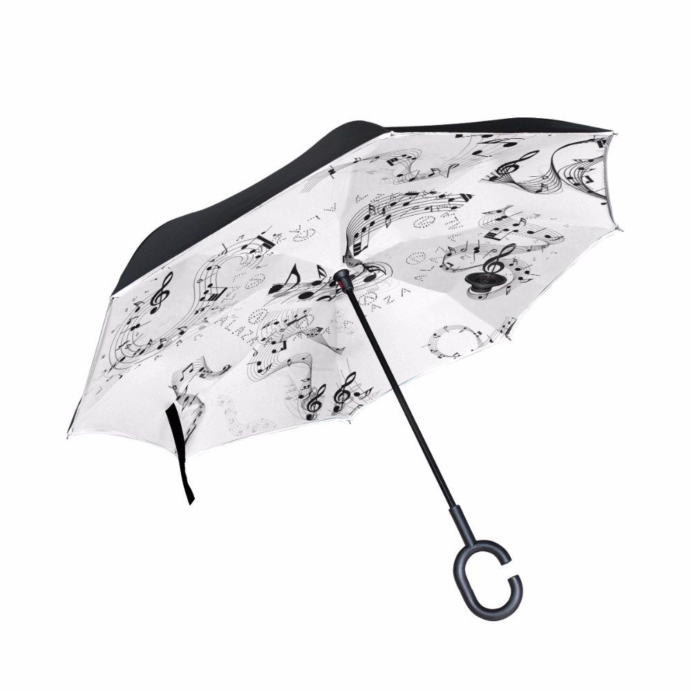 Music Note& Music Notation Reverse Umbrella Double Layer