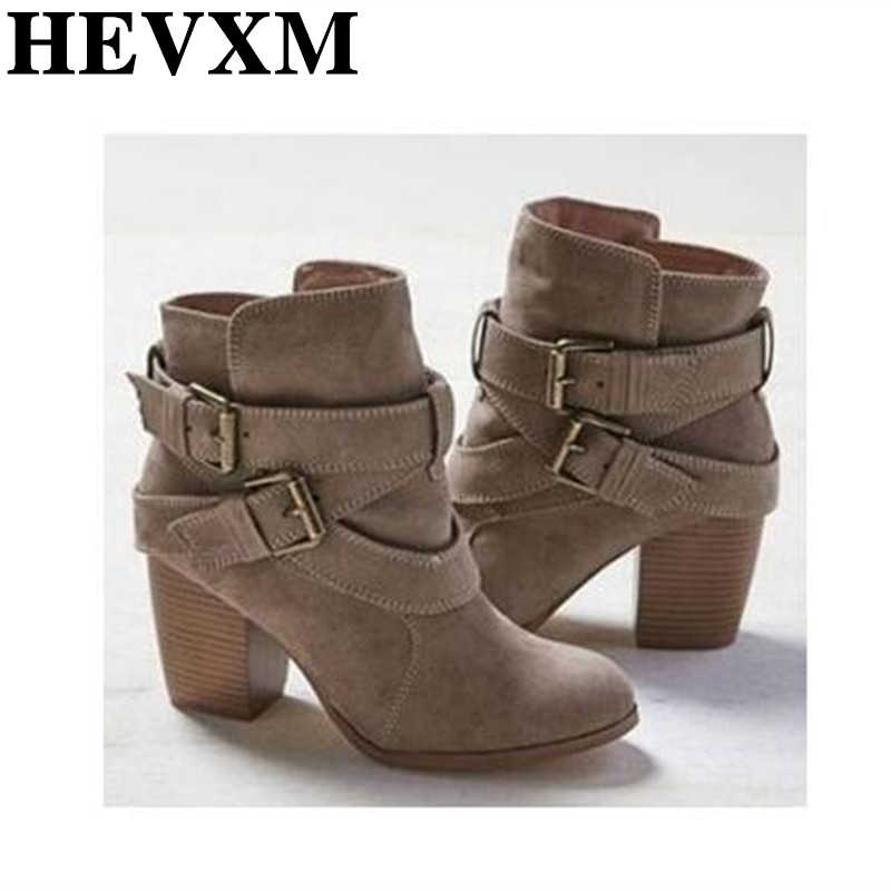 HEVXM 2018 New Autumn Winter Women Boots Casual Ladies Shoes Martin Boots Suede Leather Ankle Boots High Heeled Zipper Snow Boot new winter autumn women shoes genuine leather ankle boots side zipper casual shoes for women black boots motorcycle snow boots