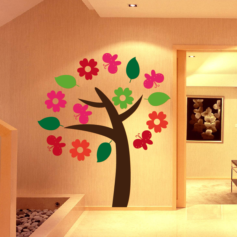 Children\'s room Acrylic 3d tree flower butterfly wall stickers Sofa ...